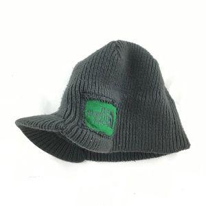 Knit hat billed gray green beanie winter warm cozy
